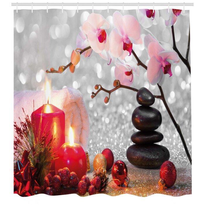 Élégant arbre de Noël avec étoiles de Noël rouge salle de bains Rideau de douche Polyester