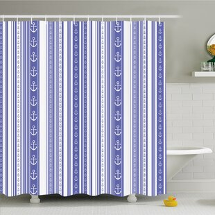 Striped Nautical Anchor Icons Tape Motifs Sea Life Contrast Strips Maritime Artwork Shower Curtain Set