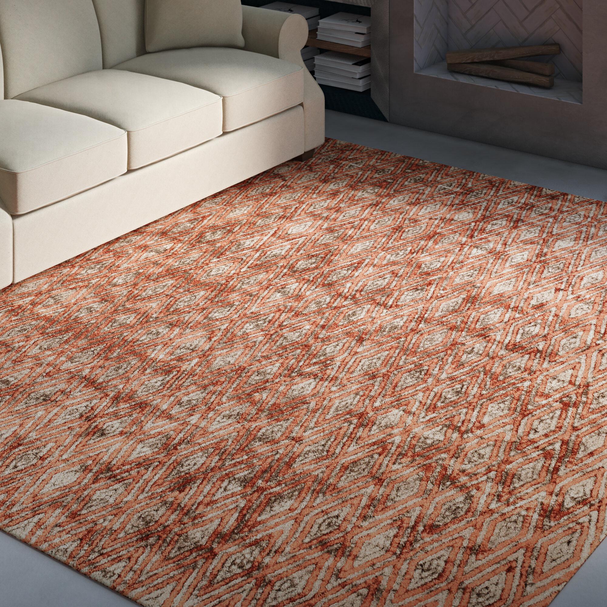 Greyleigh Brashear Geometric Handmade Tufted Rust Orange Area Rug Reviews Wayfair