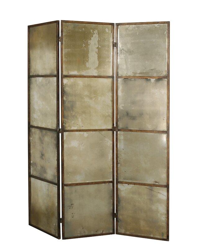 80   x 63   avidan mirrored 3 panel room divider uttermost 80   x 63   avidan mirrored 3 panel room divider  u0026 reviews      rh   wayfair
