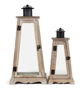 Triangular Metal/Wood Lantern