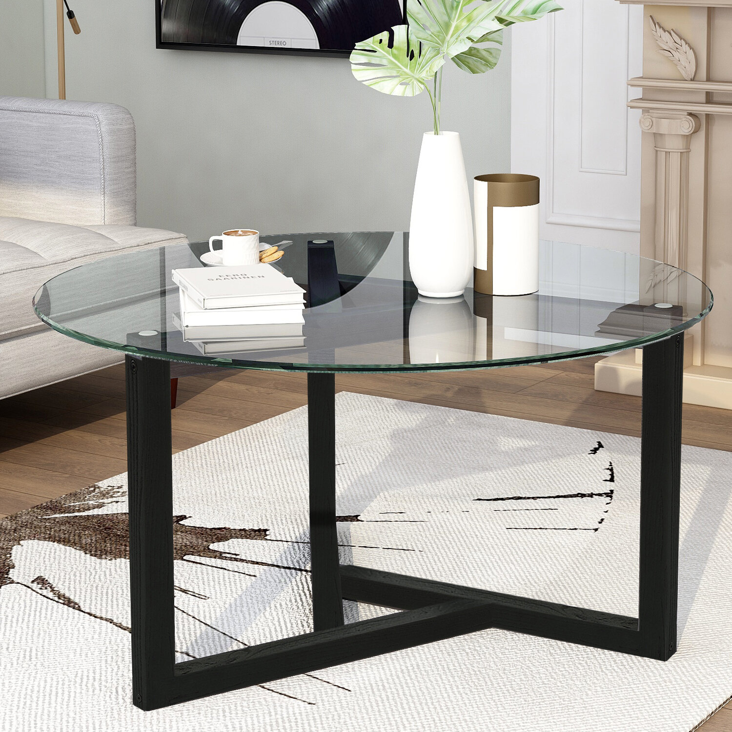 Ebern Designs Round Glass Coffee Table Modern Cocktail Table Easy Assembly Sofa Table For Living Room With Tempered Glass Top Sturdy Wood Base Oak Wayfair [ 1500 x 1500 Pixel ]