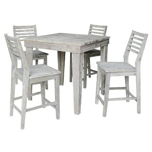 Gallimore Solid Wood Counter Height 5 Piece Pub Table Set
