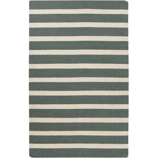 Affordable Price Kramer Ivory/Deep Sea Green Striped Area Rug By Winston Porter