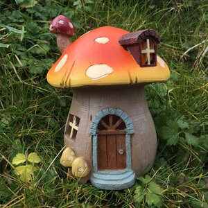 Mystical Mushroom Fairy Garden House with LED Light Decoration