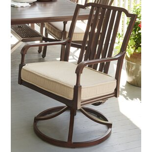 Bade Swivel Patio Dining Chair with Cushion (Set of 2)