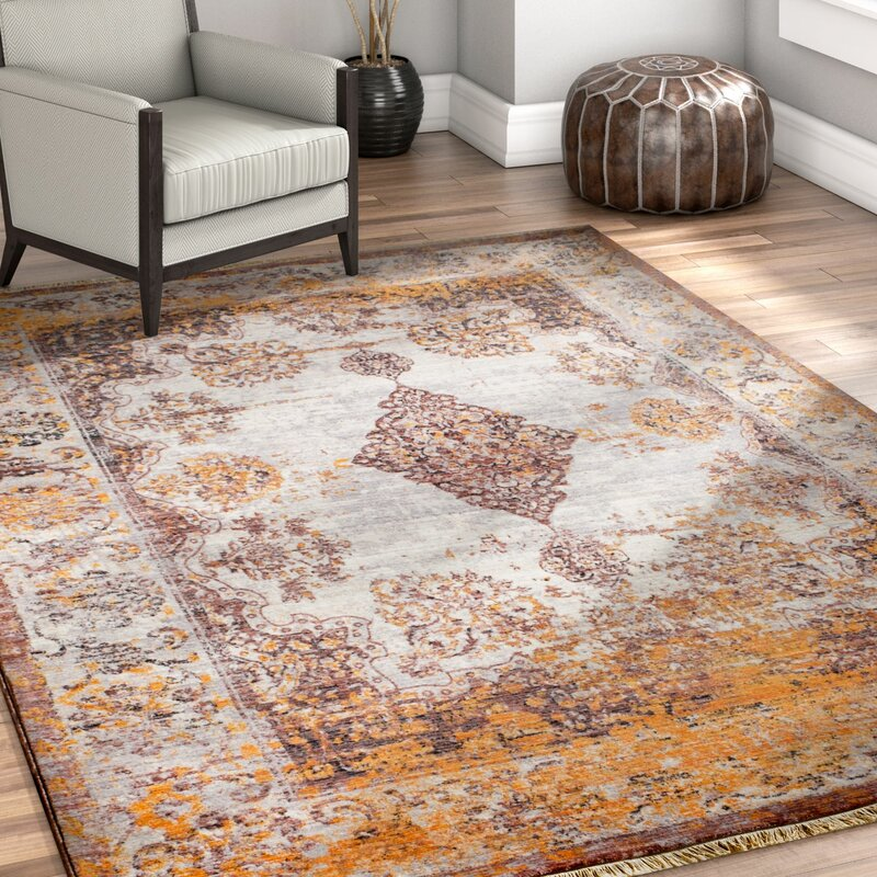Bungalow Rose Bridgegate Modern Boho Distressed Gold Area Rug ...