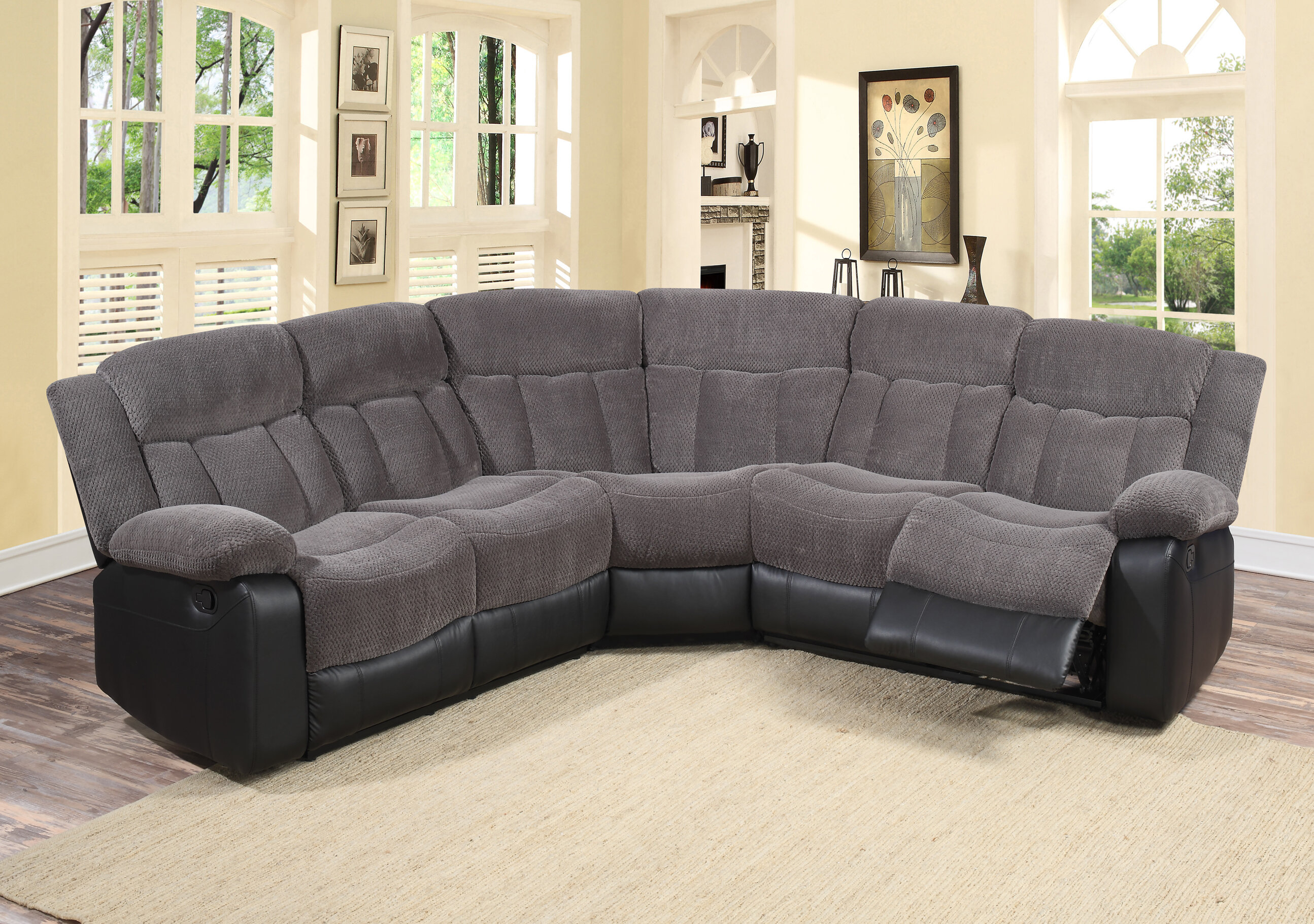 Living In Style Reclining Sectional Amp Reviews Wayfair