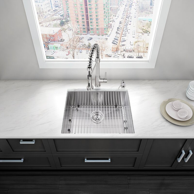 Alma 23 Inch Undermount Single Bowl 16 Gauge Stainless Steel Kitchen Sink  With Grid And Strainer