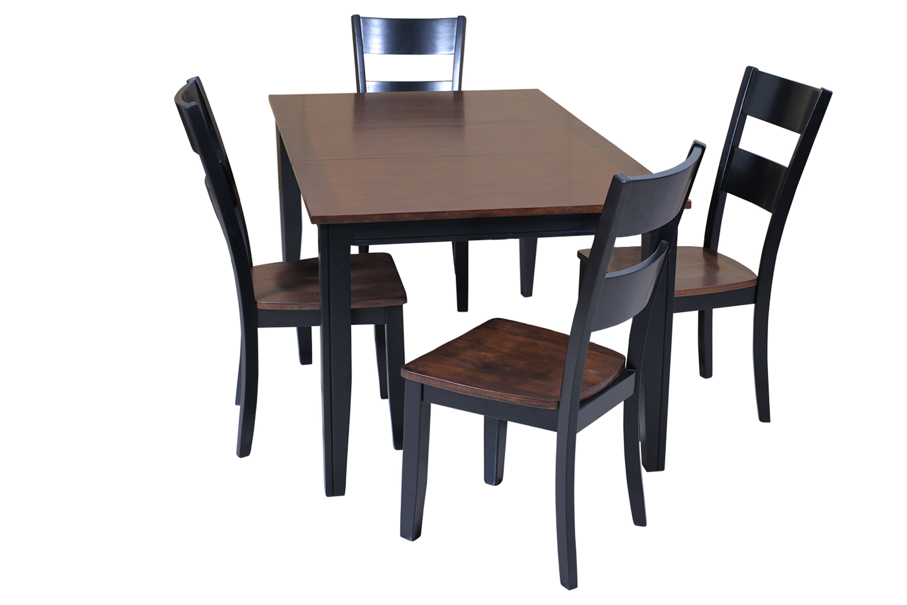 Red Barrel Studio Haan 5 Piece Solid Wood Dining Set With Butterfly Leaf  Table | Wayfair