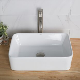 Ceramic Rectangular Vessel Bathroom Sink with Faucet by Kraus