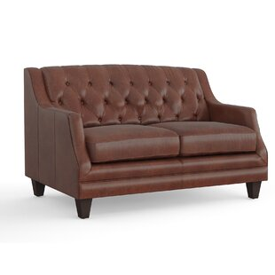 Shop Derbyshire Leather Loveseat by Three Posts