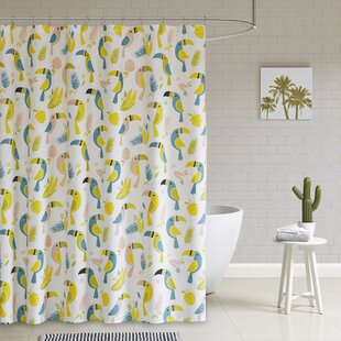 yellow and teal shower curtain. Rosalida Printed 100  Cotton Shower Curtain Modern Yellow Gold Curtains AllModern