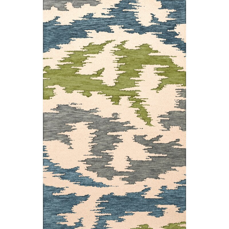 Latitude Run Garney Machine Woven Wool Gray Blue Green Area Rug Wayfair