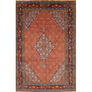 One-of-a-Kind Landy Traditional Ardebil Geometric Persian Hand-Knotted 6'7 x 9'7 Wool Rust Area Rug ByIsabelline