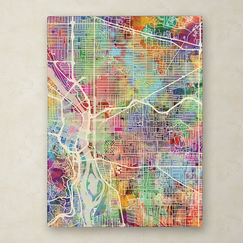 Wrought Studio Portland Oregon Street Map Graphic Art Print On Canvas Wayfair