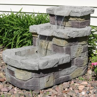 Darby Home Co Dusty Polyresin 3 Tier Brick Step Outdoor Water Fountain