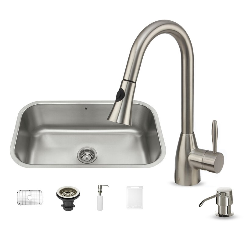 30 inch undermount single bowl 18 gauge stainless steel kitchen sink with aylesbury stainless steel faucet