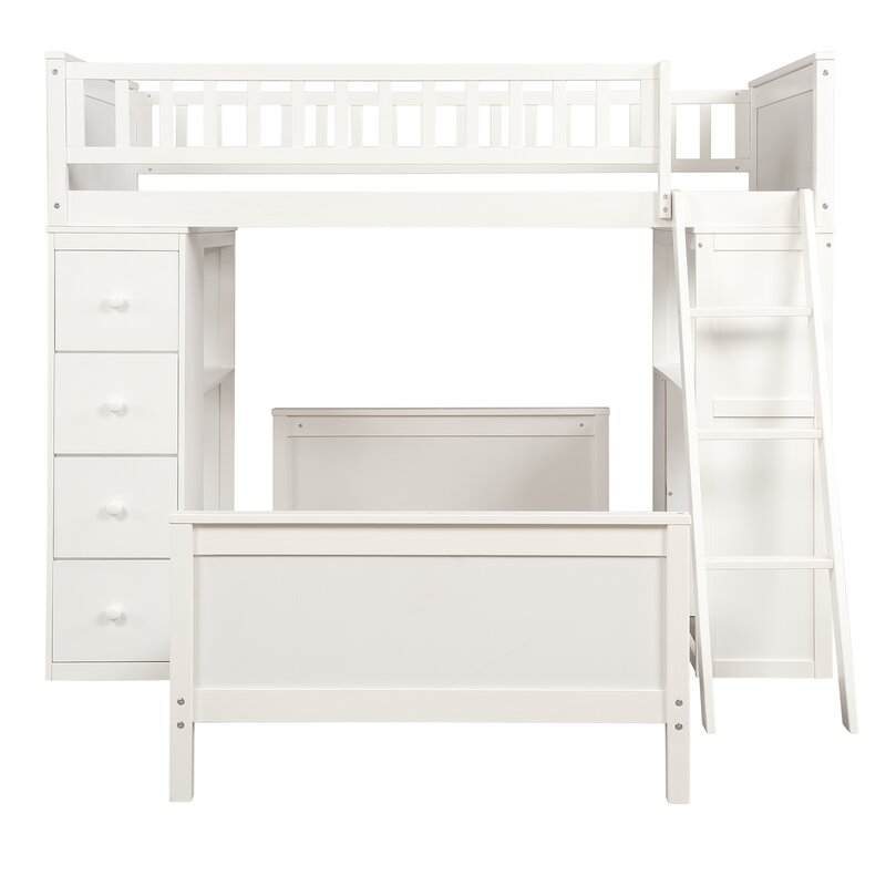 Harriet Bee Hausman Twin Over Twin L Shaped Bunk Bed With Drawers And Shelves Reviews Wayfair