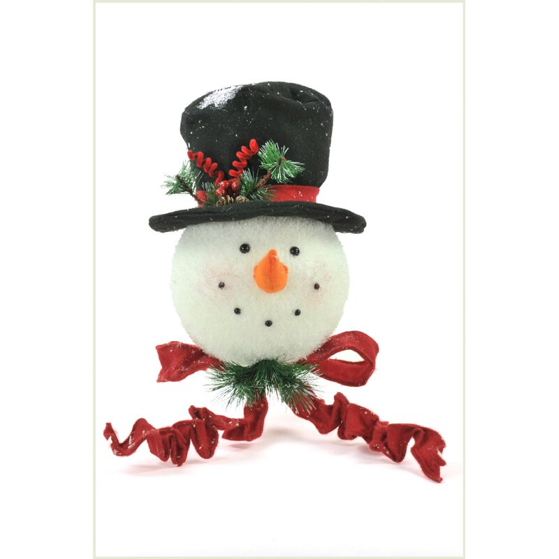 Unique SNOW MAN HEAD CHRISTMAS TREE TOPPER Festive Frosty Ornament Decor Gift