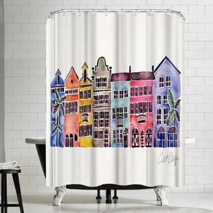 Rainbow Row Single Shower Curtain