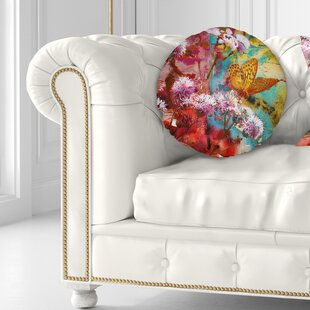 Floral Butterfly and Abstract Design Watercolor Throw Pillow