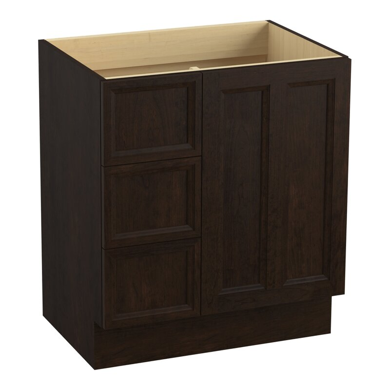 Kohler Damask 30 Vanity Base Only With Toe Kick 1 Door And 3 Drawers On Left Perigold