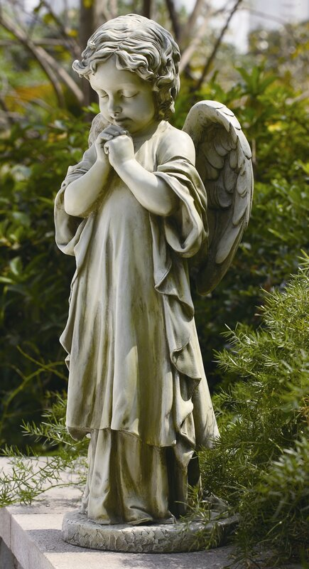 Roman inc young praying angel garden statue reviews for Praying angel plant