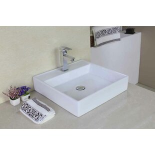 Reviews Ceramic Square Vessel Bathroom Sink with Faucet ByAmerican Imaginations