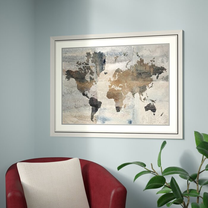 Trent Austin Design \'Stone World (Map)\' Framed Graphic Art Print ...