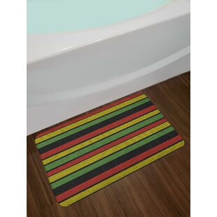 Knitted Effect Rastafarian Stripes Abstract Caribbean Culture Elements Tropical Bath Rug