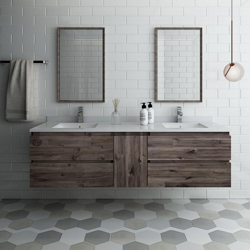 Formosa 72 Wall Mounted Double Bathroom Vanity Set With Mirror