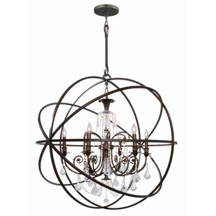 Rodrigues 6-Light Wrought Iron Globe Chandelier by Willa Arlo Interiors