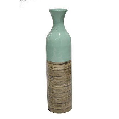 World Menagerie Jacque Floor Vase Color: Blue Glossy/Natural Bamboo Matte, Size: 23.62 H x 5.91 W x 5.91 D