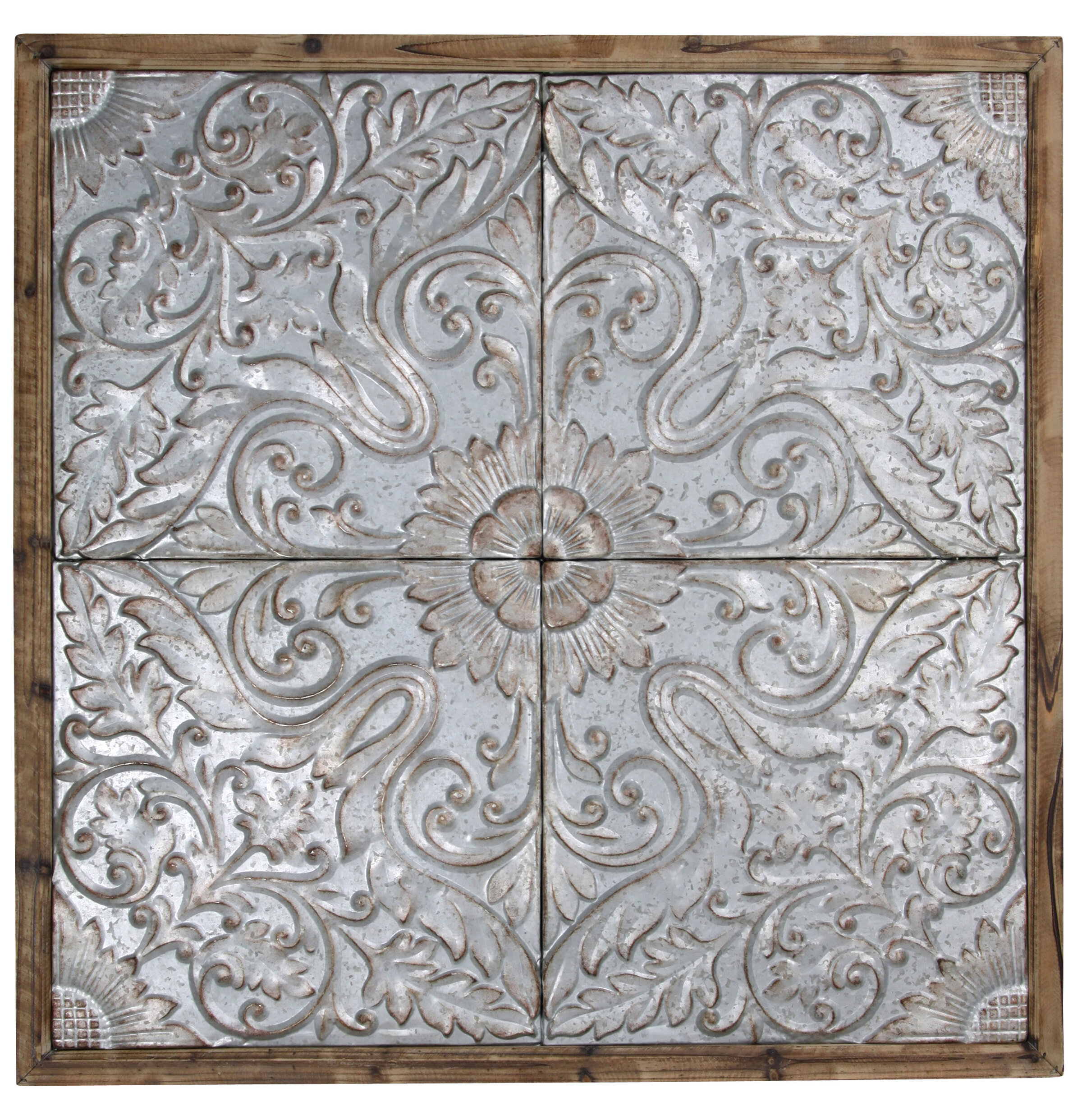 Gracie Oaks Patterned Punched Tin Ceiling Tiles Framed Graphic Art Print In Gray Reviews Wayfair