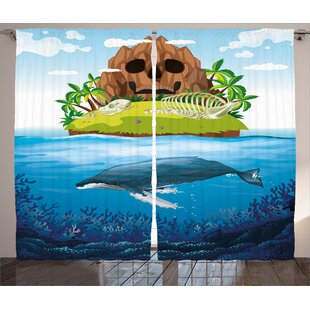 Whale Huge Whale Diving Into Ocean In Rainbow Hand Drawn Image Perfect For Teens Graphic Print & Text Semi-Sheer Rod Pocket Curtain Panels (Set Of 2) by East Urban Home