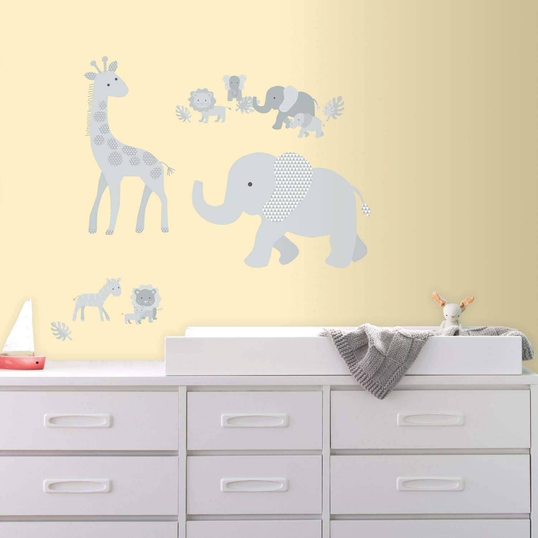 Room Mates Baby Safari Animals Peel and Stick Giant Wall Decal | Wayfair