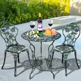 Crawfordsville 3 Piece Bistro Set