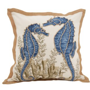 Aloisia Seahorse Down Filled Cotton Throw Pillow