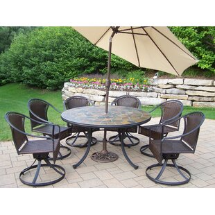 Tuscany Stone Art Dining Set with Umbrella