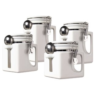 Grip Handle 4 Piece Kitchen Canister Set