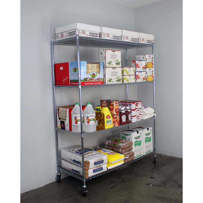 4 Tier Wire Shelving Unit With Wheels