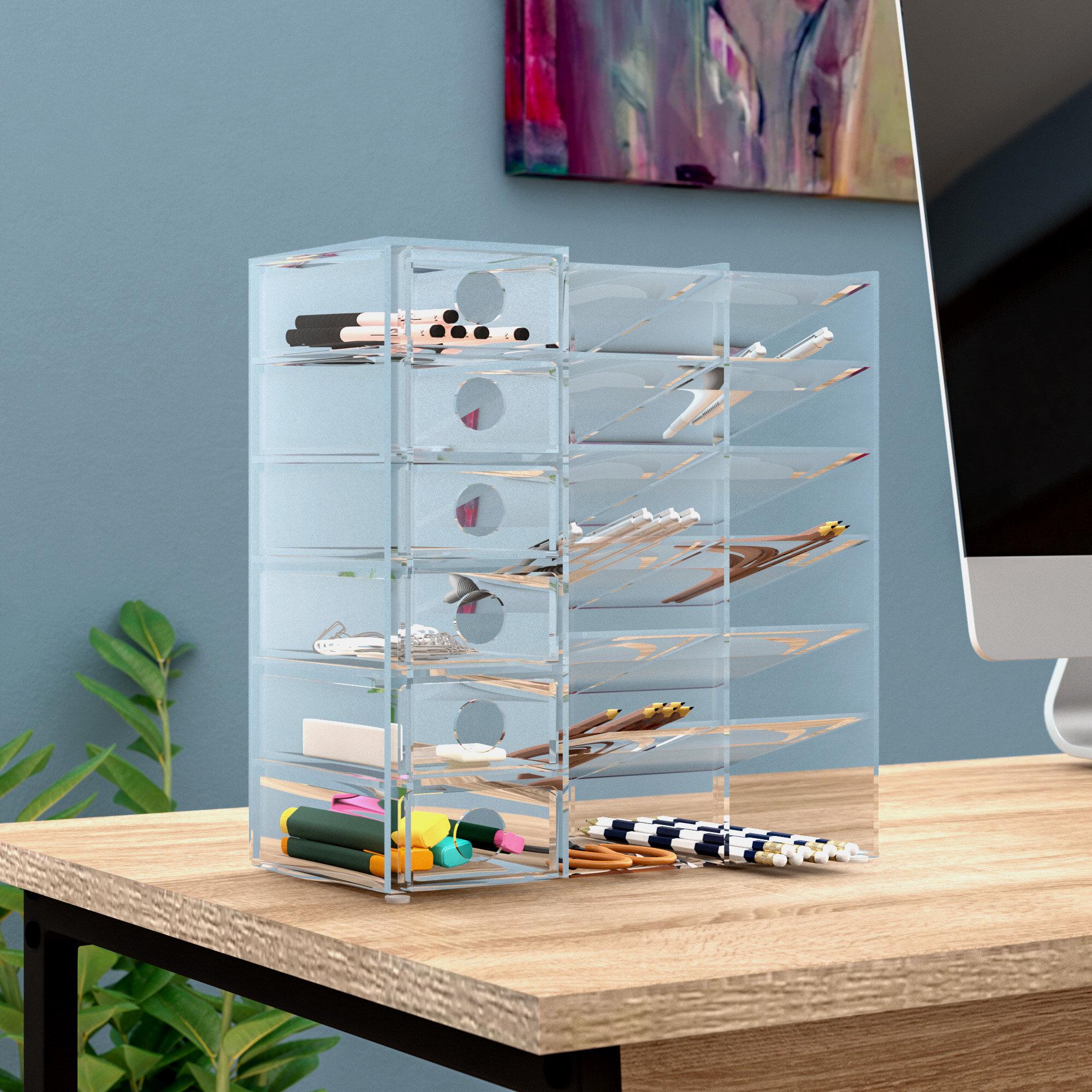 Rebrilliant Cannella Acrylic Six Shelf Office Supply Organizer Storage Drawer Case Reviews Wayfair