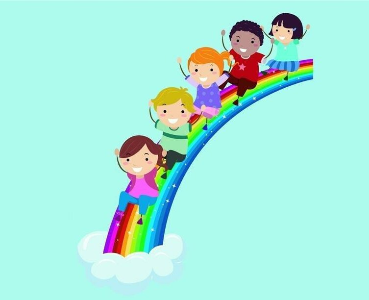 Children Sliding Down Rainbow Wall Decal