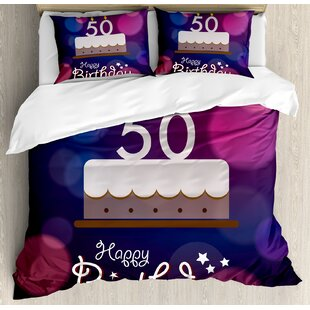 50th Birthday Decorations Spots Graphic Cake Number Candlesticks Cute Lettering Duvet Cover Set