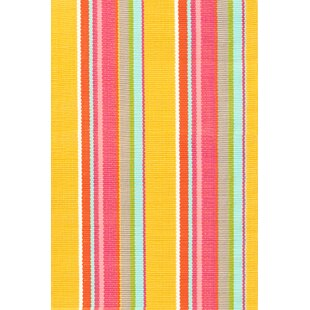 Hand Woven YellowPink IndoorOutdoor Area Rug