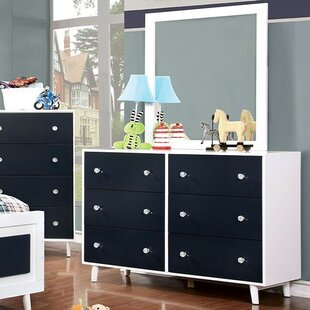 Sauve 6 Drawer Double Dresser with Mirror by Harriet Bee