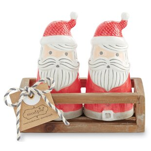 White Mud Pie Vintage Inspired Tin Cone Set of 2 Santa Claus Set Red