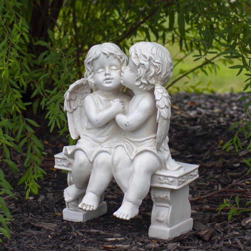 Northlight Kissing Cherubs Sitting On Bench Garden Statue Wayfair