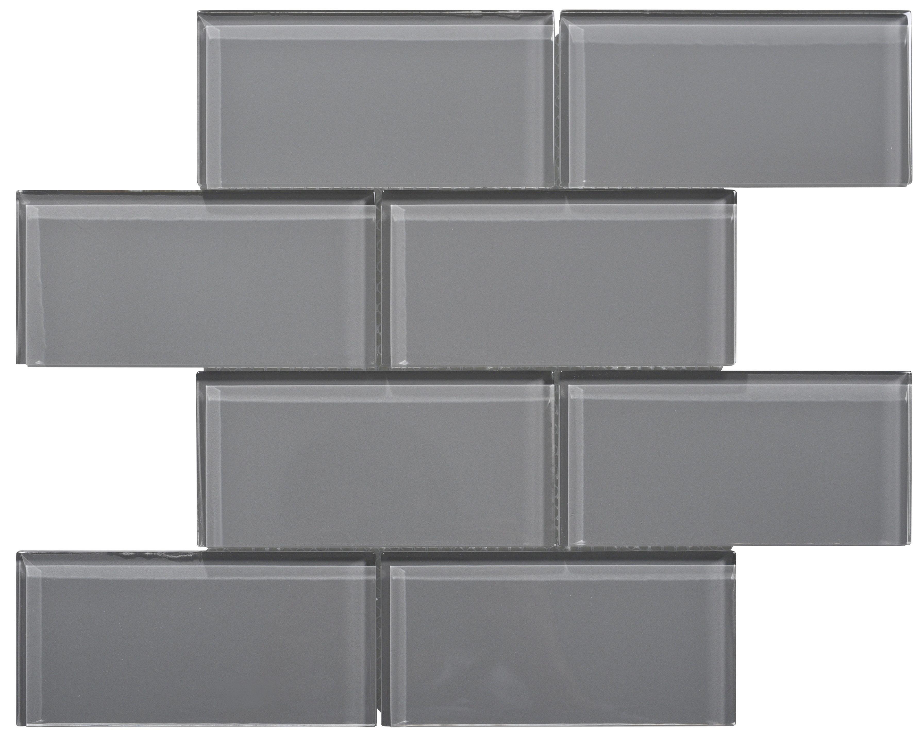 WS Tiles Premium Series X Glass Subway Tile In Dark Gray - Dark gray rectangular floor tile